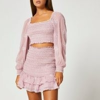 RIVER ISLAND Purple frill detail shirred mini skirt ~ tiered ruffle hem skirts ~ womens summer fashion