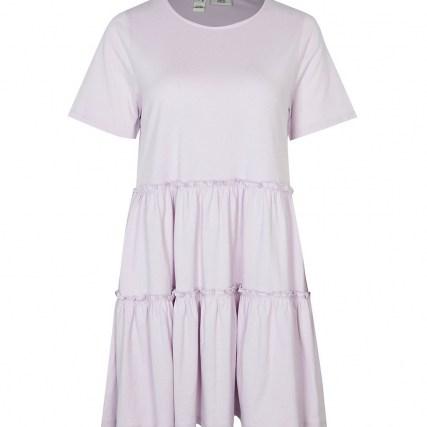 RIVER ISLAND Purple frill detail t-shirt mini smock dress ~ cotton short sleeve tiered dresses ~ womens casual summer fashion - flipped