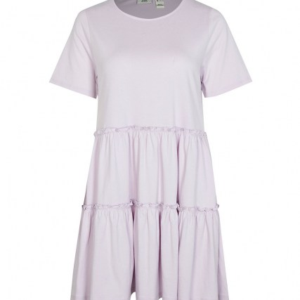 RIVER ISLAND Purple frill detail t-shirt mini smock dress ~ cotton short sleeve tiered dresses ~ womens casual summer fashion