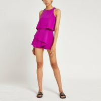 RIVER ISLAND Purple frill layered playsuit ~ sleeveless tiered playsuits