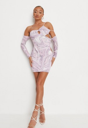 MISSGUIDED purple marble print asymmetric slinky cut out mini dress ~ strappy detail going out dresses ~ glamorous evening fashion - flipped