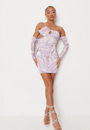 MISSGUIDED purple marble print asymmetric slinky cut out mini dress ~ strappy detail going out dresses ~ glamorous evening fashion