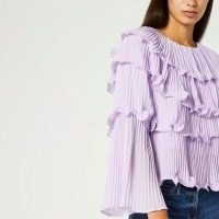 RIVER ISLAND Purple pleated layered blouse top ~ ruffle detail blouses ~ wide flute sleeve tops