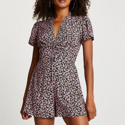 RIVER ISLAND Purple ruched front floral playsuit ~ gathered detail flower print playsuits - flipped