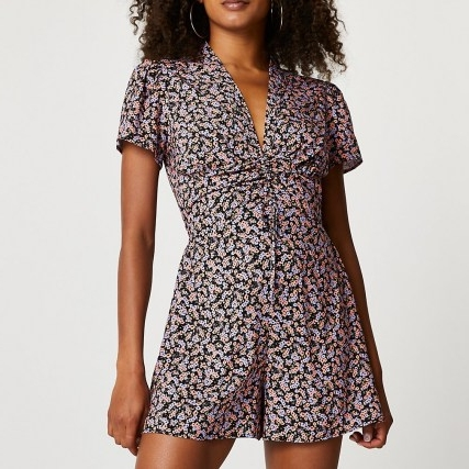 RIVER ISLAND Purple ruched front floral playsuit ~ gathered detail flower print playsuits