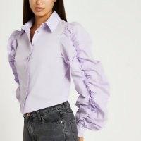 RIVER ISLAND Purple ruched long sleeve shirt ~ women's ruffle sleeved shirts ~ romantic inspired fashion