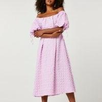 RIVER ISLAND Purple textured bardot midi dress ~ off the shoulder dresses