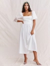 Reformation Rachelle Dress | white fit and flare puff sleeve dresses | romantic fashion