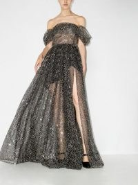 RASARIO off shoulder ruched gown ~ black sequinned semi sheer bardot gowns ~ evening event glamour