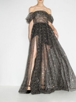 RASARIO off shoulder ruched gown ~ black sequinned semi sheer bardot gowns ~ evening event glamour - flipped
