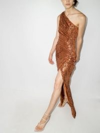 RASARIO one shoulder gathered dress ~ glamorous squin covered evening dresses ~ party glamour ~ womens sequinned event wear