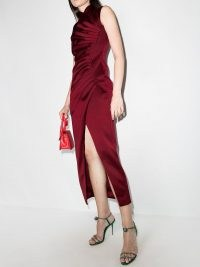 RASARIO ruched side sleeveless dress in wine red ~ front slit party dresses ~ glamorous occasion fashion ~ going out evening glamour