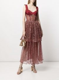 RASARIO sequin-embellished sleeveless dress in wine red – semis sheer sequinned occasion dresses – fitted bodice event wear