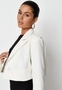 MISSGUIDED recycled cream tailored crop blazer ~ womens fashionable cropped blazers