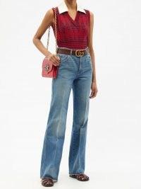 GUCCI Detachable-collar geometric-jacquard wool top   retro knitted tank tops   womens vintage style fashion