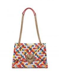 DOLCE & GABBANA Devotion woven-leather shoulder bag / multicoloured designer handbags