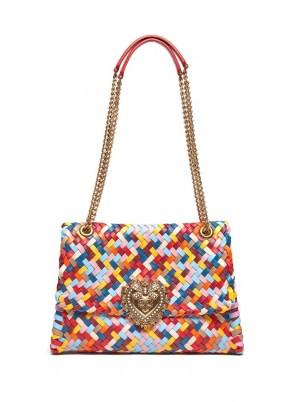 DOLCE & GABBANA Devotion woven-leather shoulder bag / multicoloured designer handbags - flipped