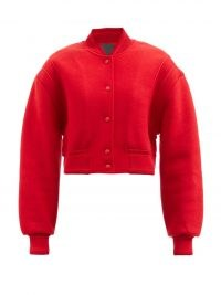 GIVENCHY Logo-jacquard red wool varsity jacket ~ classic preppy style cropped jackets ~ womens outerwear