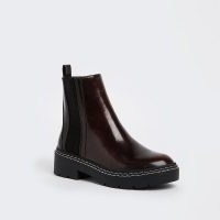 RIVER ISLAND Red panelled stitched detail patent boots ~ womens chunky sole chelsea boot