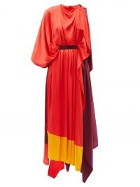 ROKSANDA Yerba asymmetric colour-block silk-satin dress ~ one sleeve colourblock handkerchief hem maxi dresses