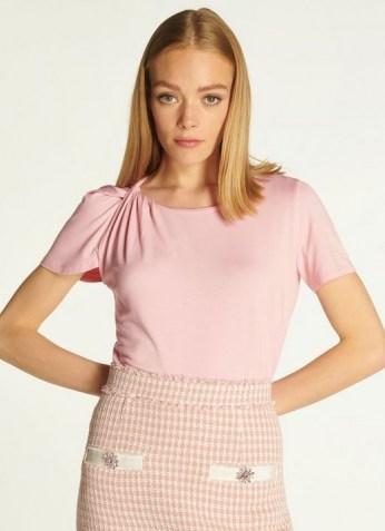 L.K. BENNETT RILEY PINK JERSEY TWIST NECK T-SHIRT ~ womens feminine short sleeve t shirts - flipped