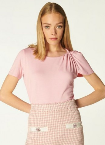 L.K. BENNETT RILEY PINK JERSEY TWIST NECK T-SHIRT ~ womens feminine short sleeve t shirts