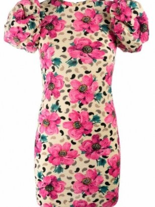ROTATE Ruby floral-print dress in mellow yellow/pink ~ floral puff sleeve dresses - flipped