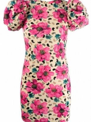 ROTATE Ruby floral-print dress in mellow yellow/pink ~ floral puff sleeve dresses
