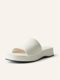 REFORMATION Rue Platform Slide Sandal in White Black / womens leather slider sandals / women's summer flatforms