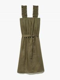 FRAME Ruffle Strap Tank Dress Moss