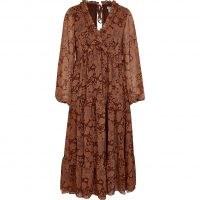 RIVER ISLAND Rust floral ruffle detail smock midi dress ~ floaty boho dresses ~ ruffled bohemian fashion