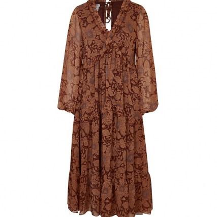 RIVER ISLAND Rust floral ruffle detail smock midi dress ~ floaty boho dresses ~ ruffled bohemian fashion - flipped