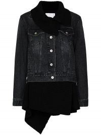 Sacai Hybrid knitted cardigan denim jacket | womens casual designer jackets | shawl collar