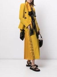 Sacai panelled-pleat midi skirt mustard yellow | chic back pleated skirts