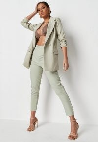 MISSGUIDED sage oversized boyfriend blazer ~ women's green on trend blazers ~ womens fashionable shoulder pad jackets ~ padded shoulders