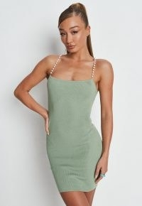 MISSGUIDED sage rib pearl cami knit mini dress ~ green going out dresses