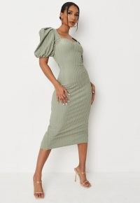 MISSGUIDED sage rib puff sleeve bandage midaxi dress ~ green fitted sweetheart neckline dresses