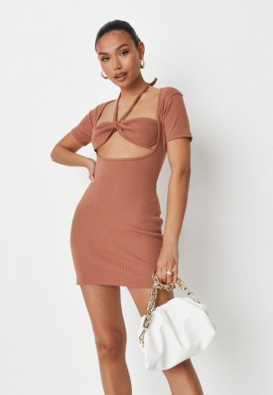 sarah ashcroft x missguided chocolate rib collared cut out back mini dress ~ brown fitted short sleeve dresses ~ celebrity inspired fashion