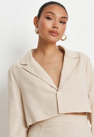 sarah ashcroft x missguided cream co ord linen mix tailored oversized crop blazer ~ womens single button crop hem blazers ~ neutral summer jackets - flipped