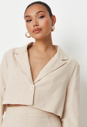 sarah ashcroft x missguided cream co ord linen mix tailored oversized crop blazer ~ womens single button crop hem blazers ~ neutral summer jackets
