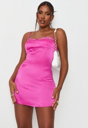 sarah ashcroft x missguided petite fuchsia satin lace trim slip mini dress ~ bright coloured cami dresses - flipped