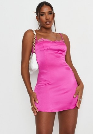 sarah ashcroft x missguided petite fuchsia satin lace trim slip mini dress ~ bright coloured cami dresses