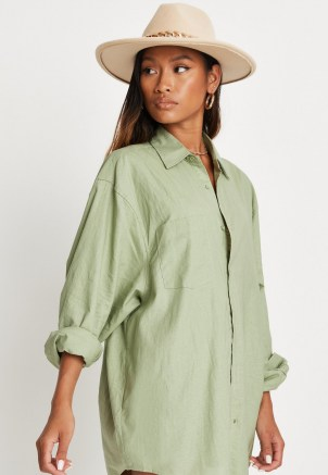 sarah ashcroft x missguided sage co ord linen extreme oversized shirt ~ womens green longline curve hem shirts ~ on trend summer fashion - flipped