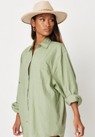 sarah ashcroft x missguided sage co ord linen extreme oversized shirt ~ womens green longline curve hem shirts ~ on trend summer fashion