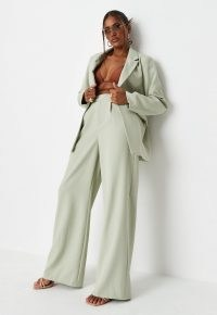 sarah ashcroft x missguided sage co ord tailored masculine trousers ~ womens green high waist trouser