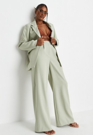 sarah ashcroft x missguided sage co ord tailored masculine trousers ~ womens green high waist trouser - flipped