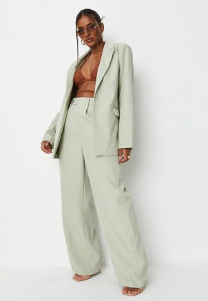 sarah ashcroft x missguided sage co ord tailored oversized blazer ~ womens green on trend blazers ~ celebrity fashion collaboration jackets