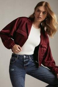 KAREN MILLEN Satin Cropped Utility Pocket Jacket Merlot | wine red bomber style jackets