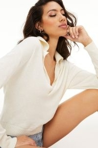 GOOD AMERICAN SHEER COLLARED HENLEY Ivory001 | knitted plunge front tops | Deep V-neck knits