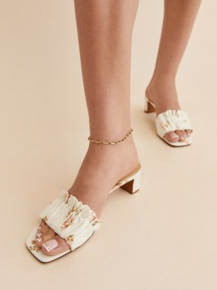 REFORMATION Shereen Ruched Block Heel Mule in Mildred / floral print gathered front mules - flipped